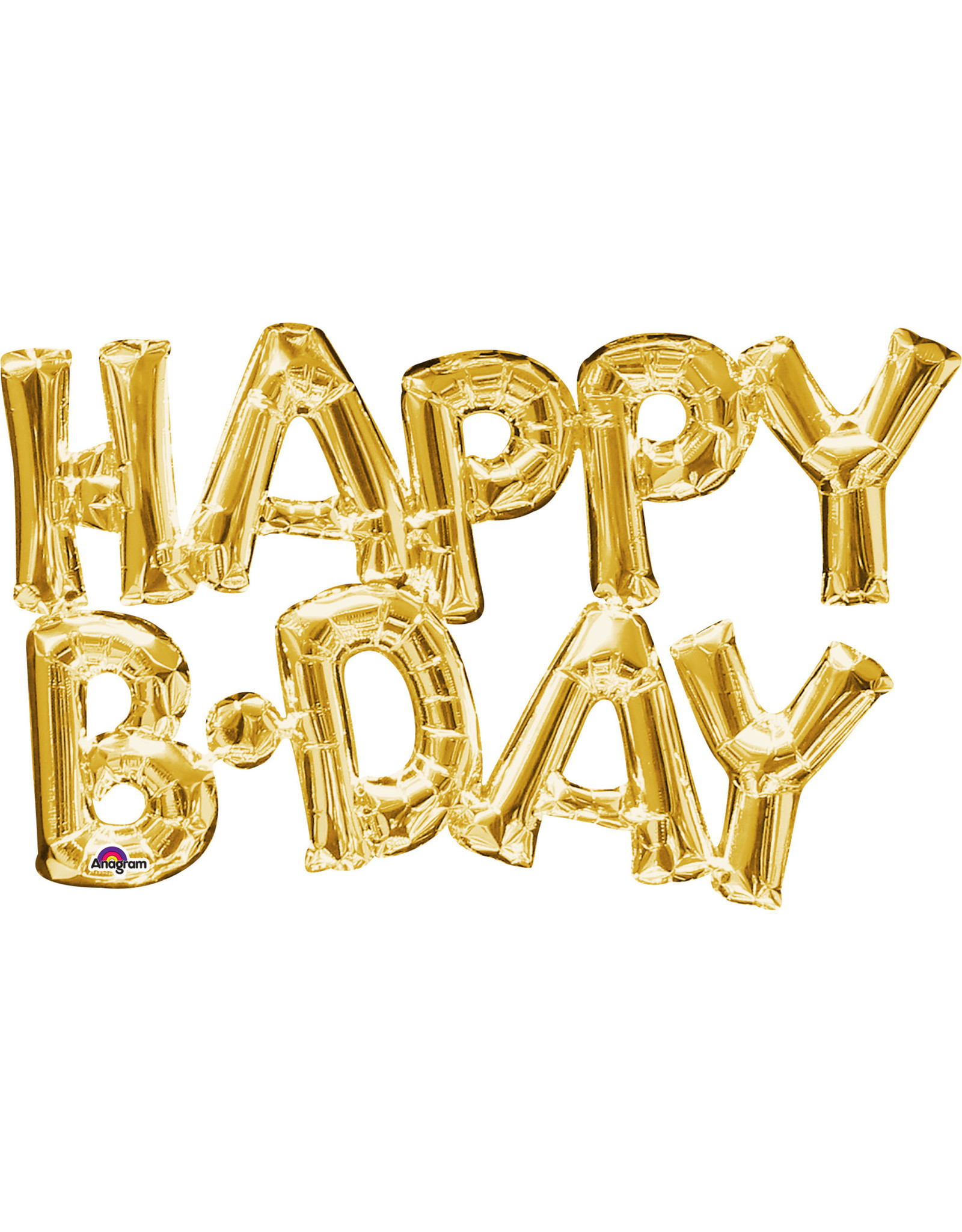 Amscan folieballon Air-filled goud Happy B-day