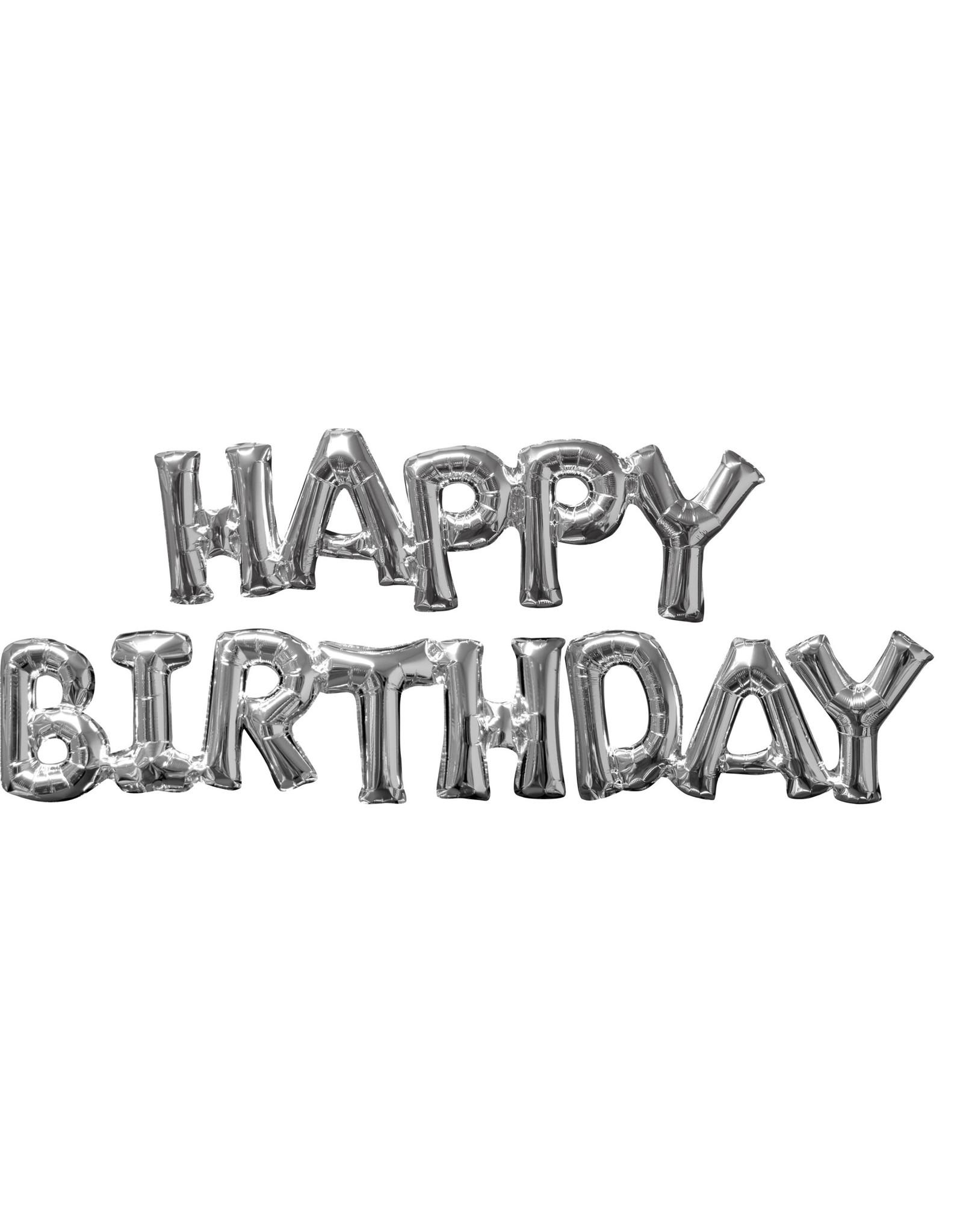 Amscan folieballon Air-filled zilver Happy birthday