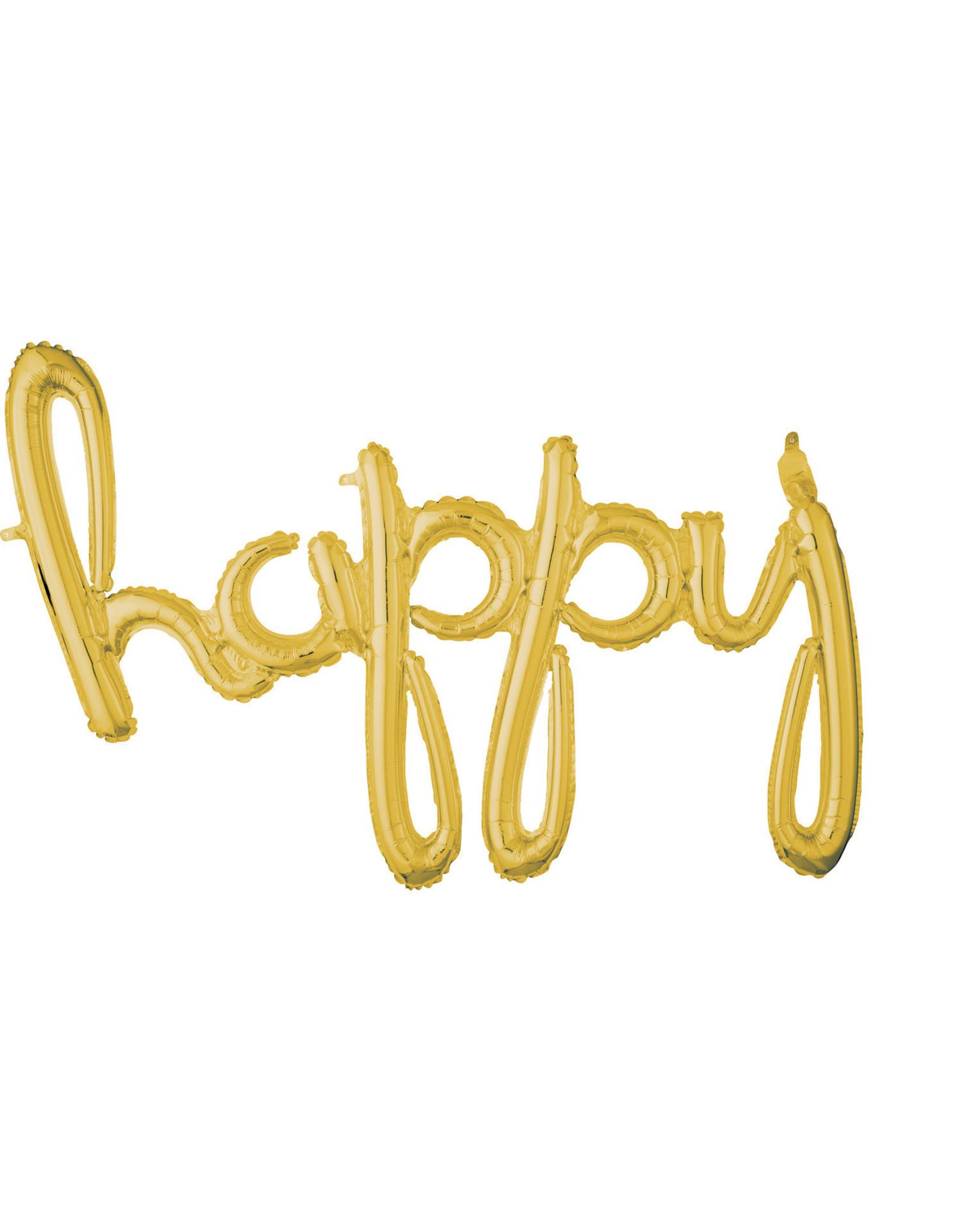 Amscan folieballon airfilled goud happy