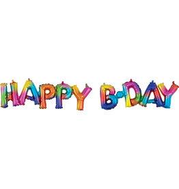 Amscan folieballon airfilled HAPPY B-DAY regenboogkleuren