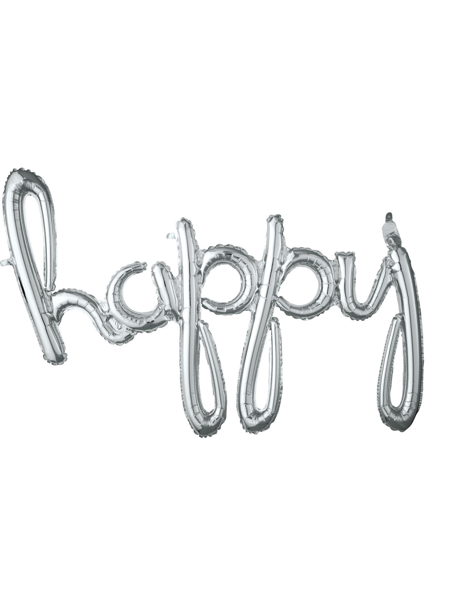 Amscan folieballon airfilled zilver happy