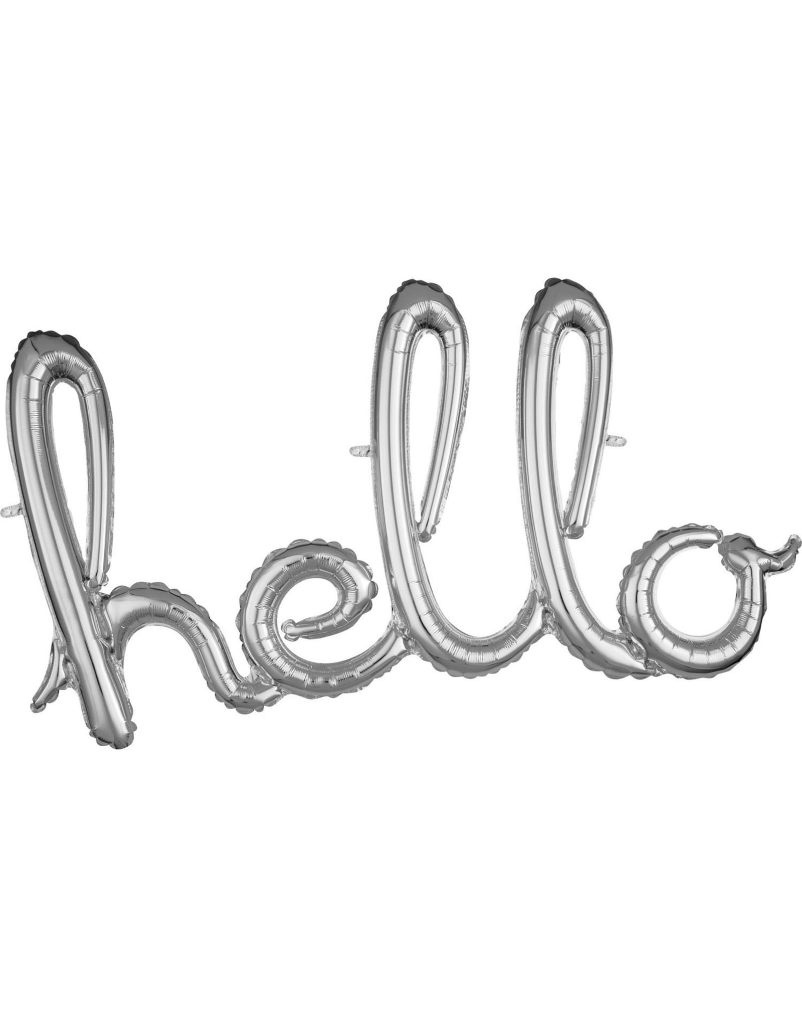 Amscan folieballon airfilled zilver hello