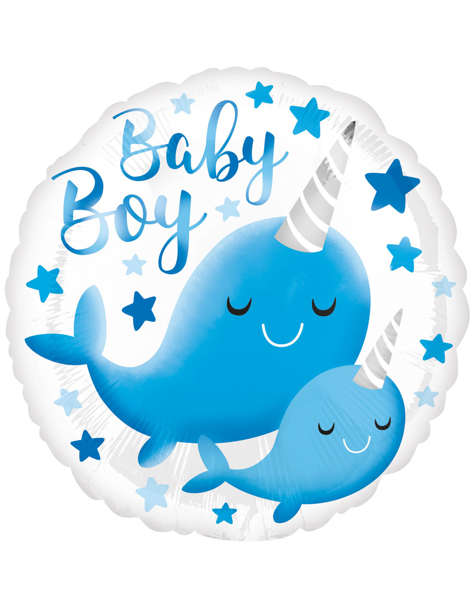 Amscan folieballon baby boy whale 43 cm