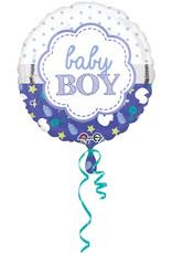 Amscan folieballon baby boy wit blauw 43 cm