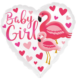 Amscan folieballon baby girl flamingo 43 cm