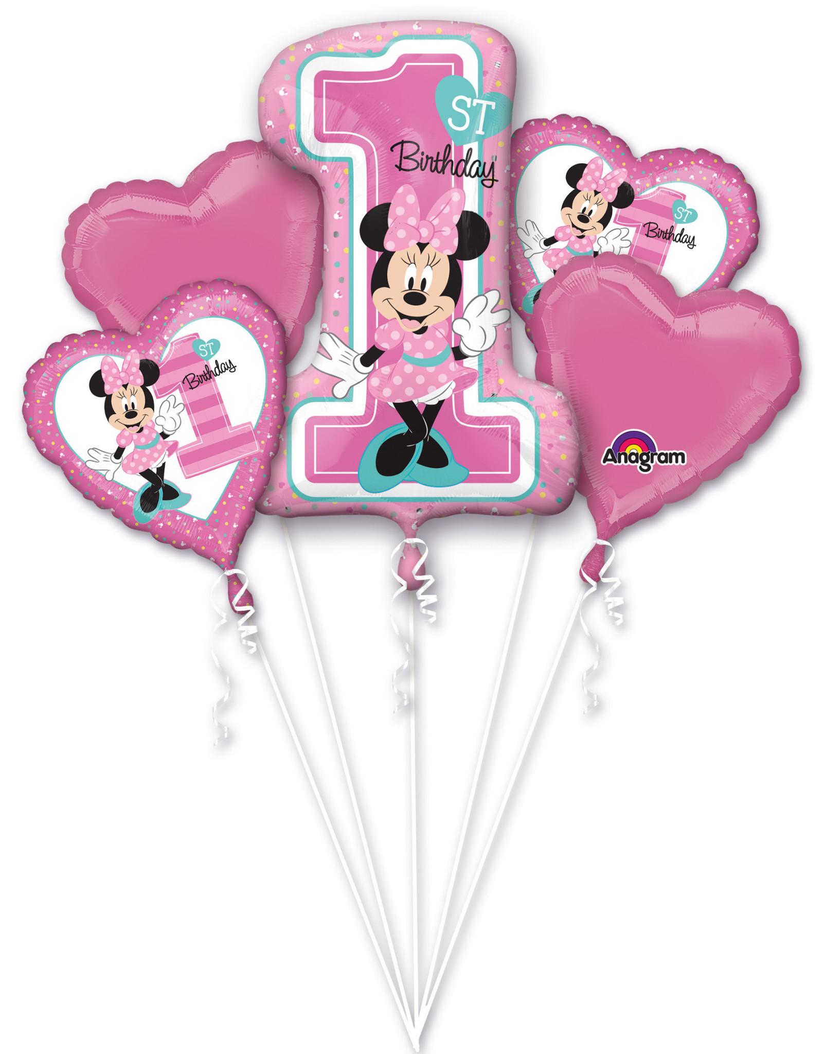 Amscan folieballonpakket 1st birthday Minnie Mouse 5-delig
