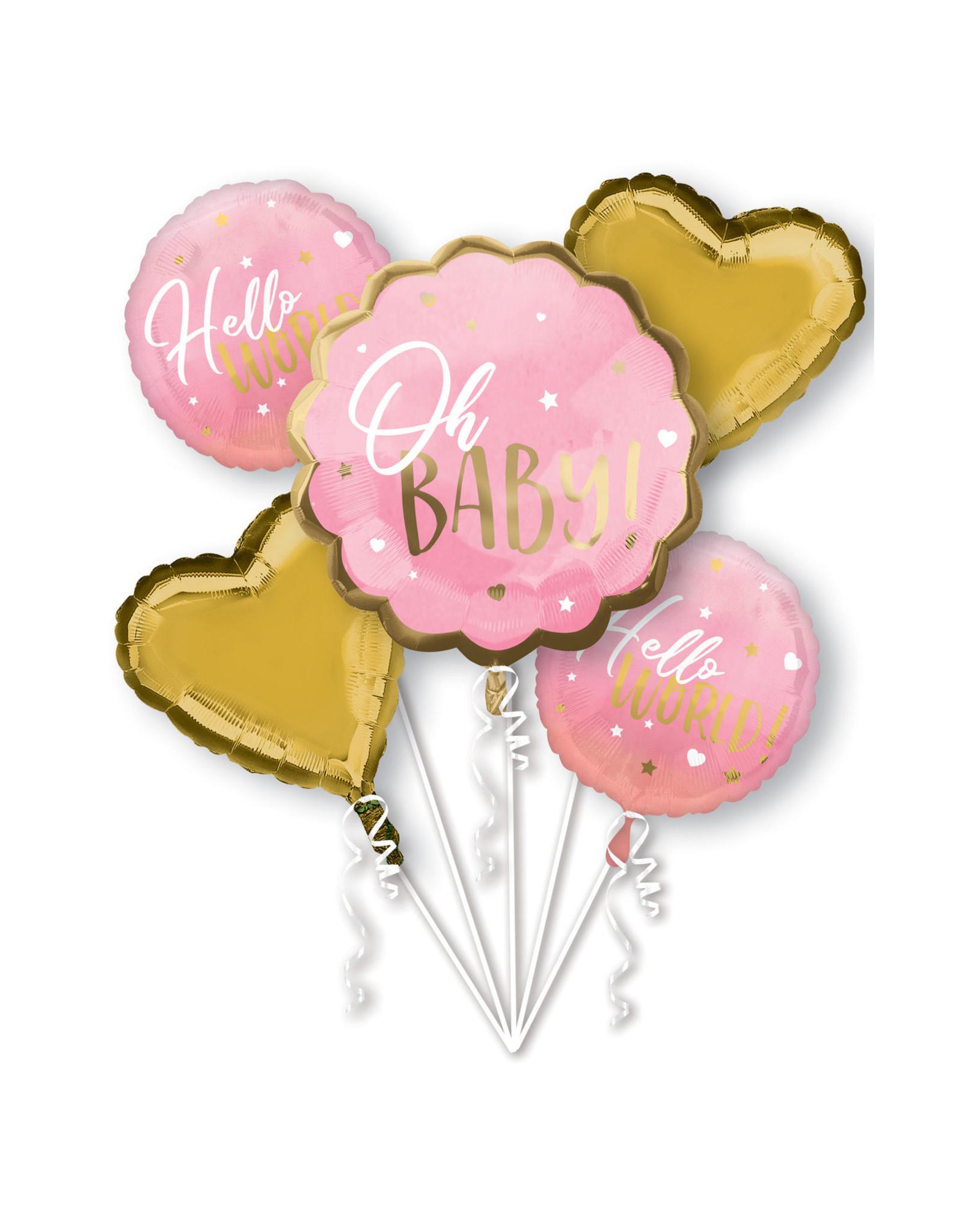 Amscan folieballonpakket OH BABY! Roze goud 5-delig
