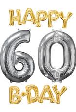 Amscan folieballonpakket Happy 60 B-Day