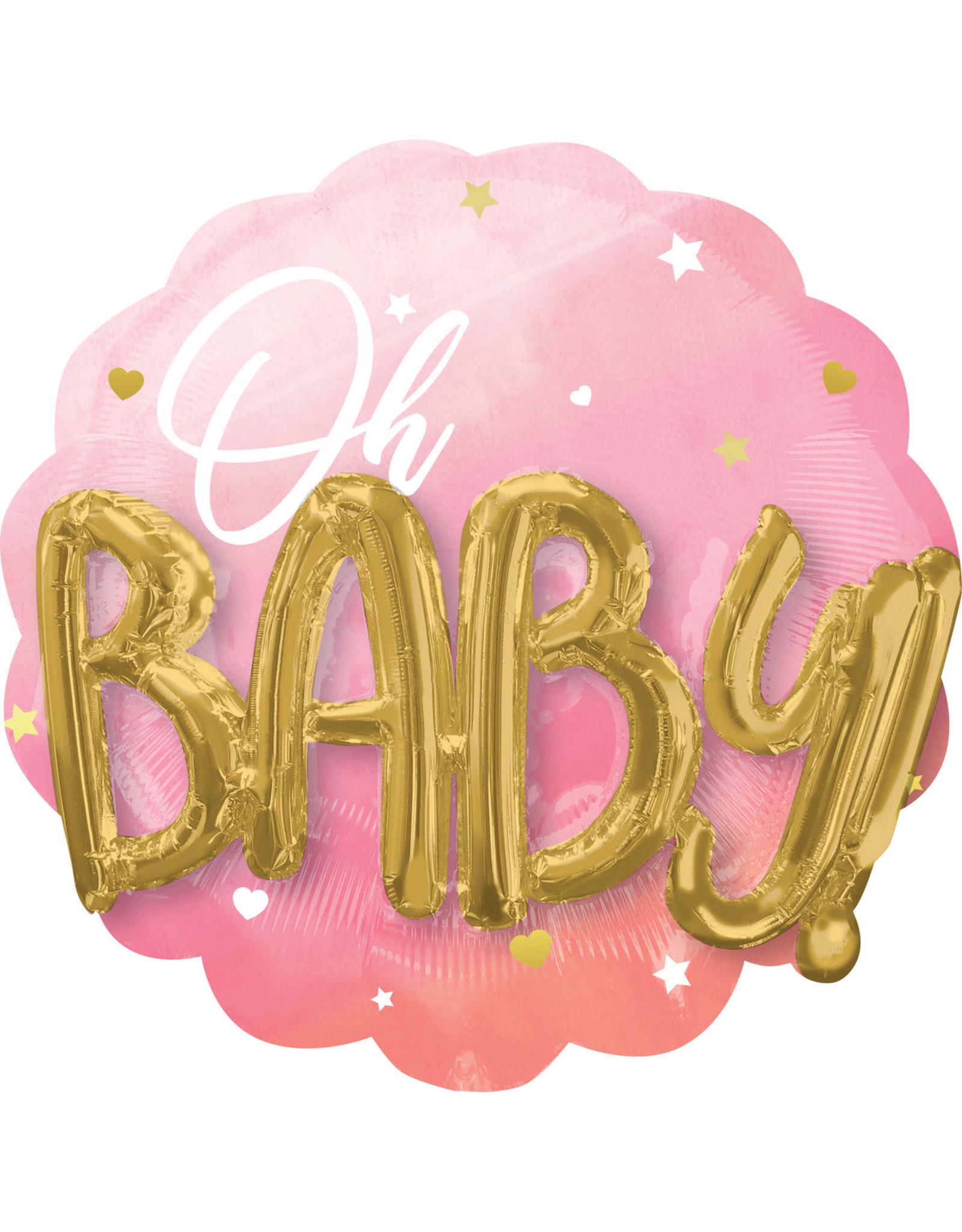 Amscan folieballon OH BABY roze 3D