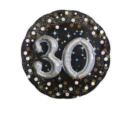 Amscan sparkling folieballon 30 jaar 81 cm zwart zilver