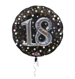 Amscan sparkling folieballon 18 jaar zwart zilver 81 cm