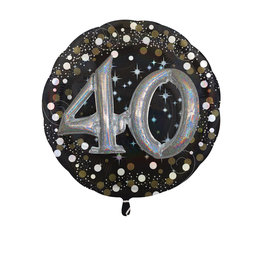 Amscan sparkling folieballon 40 jaar zwart zilver 81 cm
