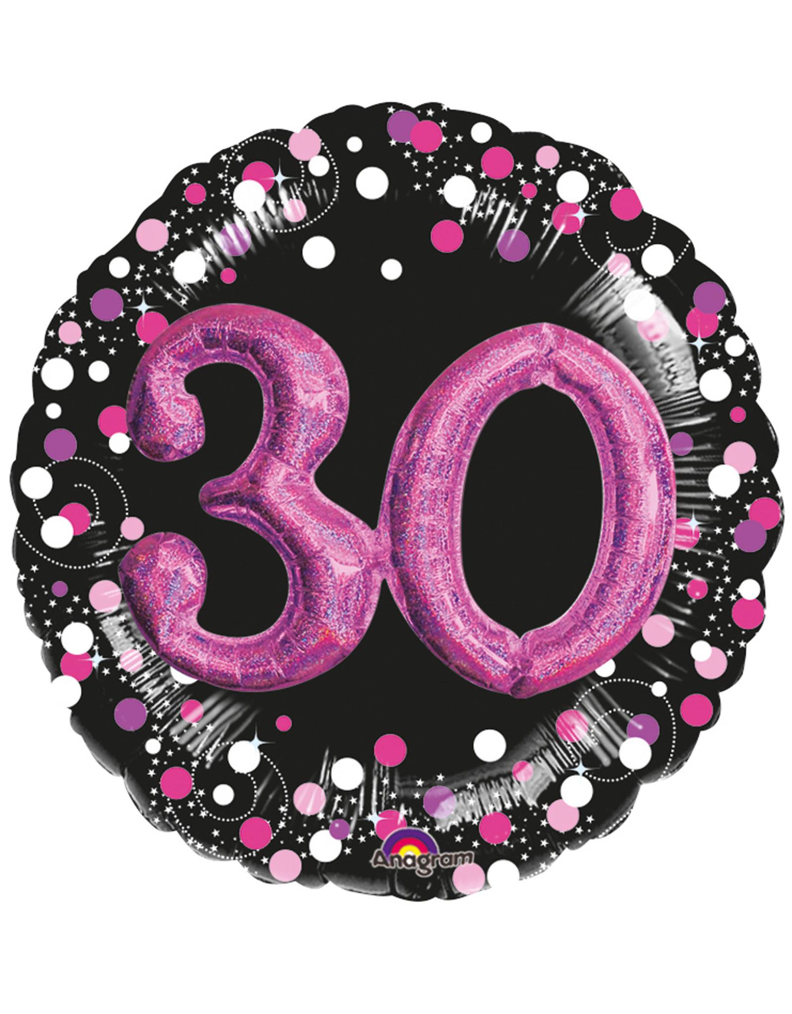 Amscan folieballon zwart roze 30 jaar 3D