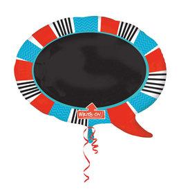 Amscan folieballon write-on woord bubbel rood blauw
