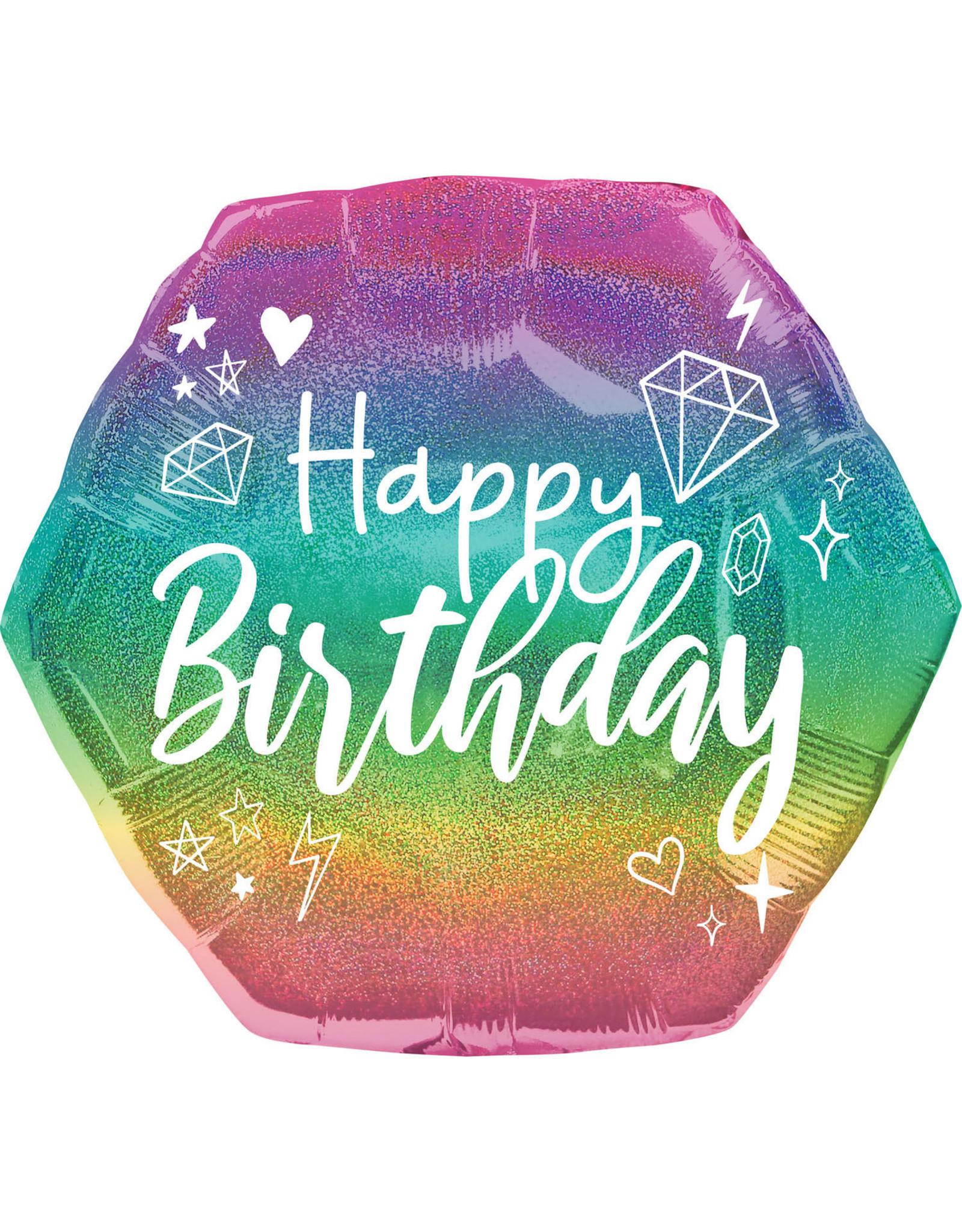 Amscan folieballon supershape happy birthday holographic 58 cm