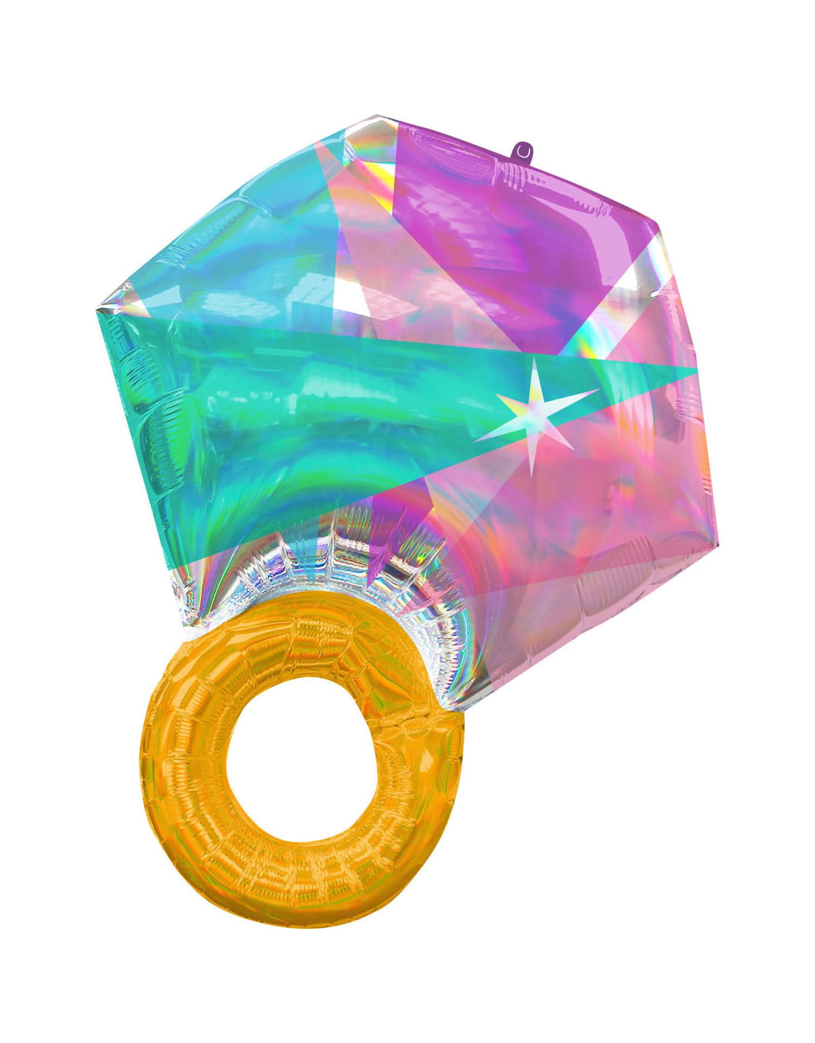 Amscan folieballon supershape wedding ring holographic