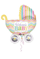 Amscan folieballon kinderwagen welcome baby 78x71cm