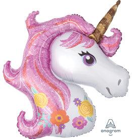 Amscan folieballon unicorn pink glitter 83 x 73 cm