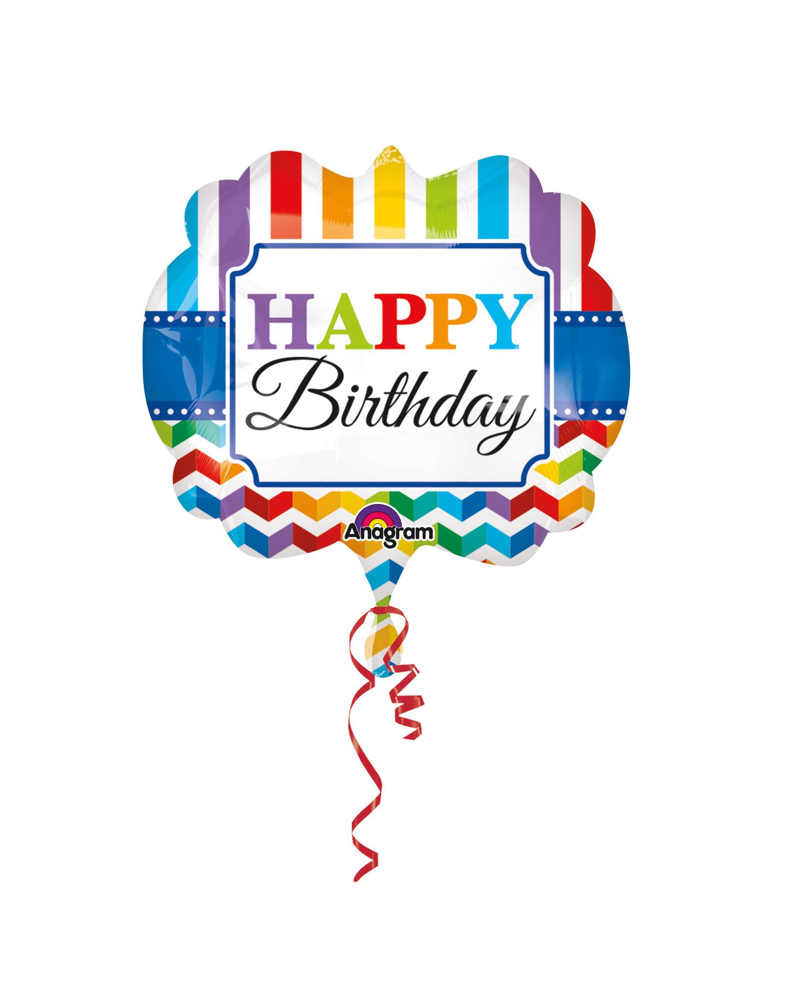 Amscan folieballon supershape happy birthday stripes & chevron