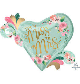 Amscan folieballon supershape from miss to mrs 81 x 66 cm