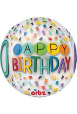 Amscan folieballon orbz confetti stijl 60 jaar 38 x 40 cm
