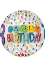 Amscan folieballon orbz confetti stijl 18 jaar 38 x 40 cm