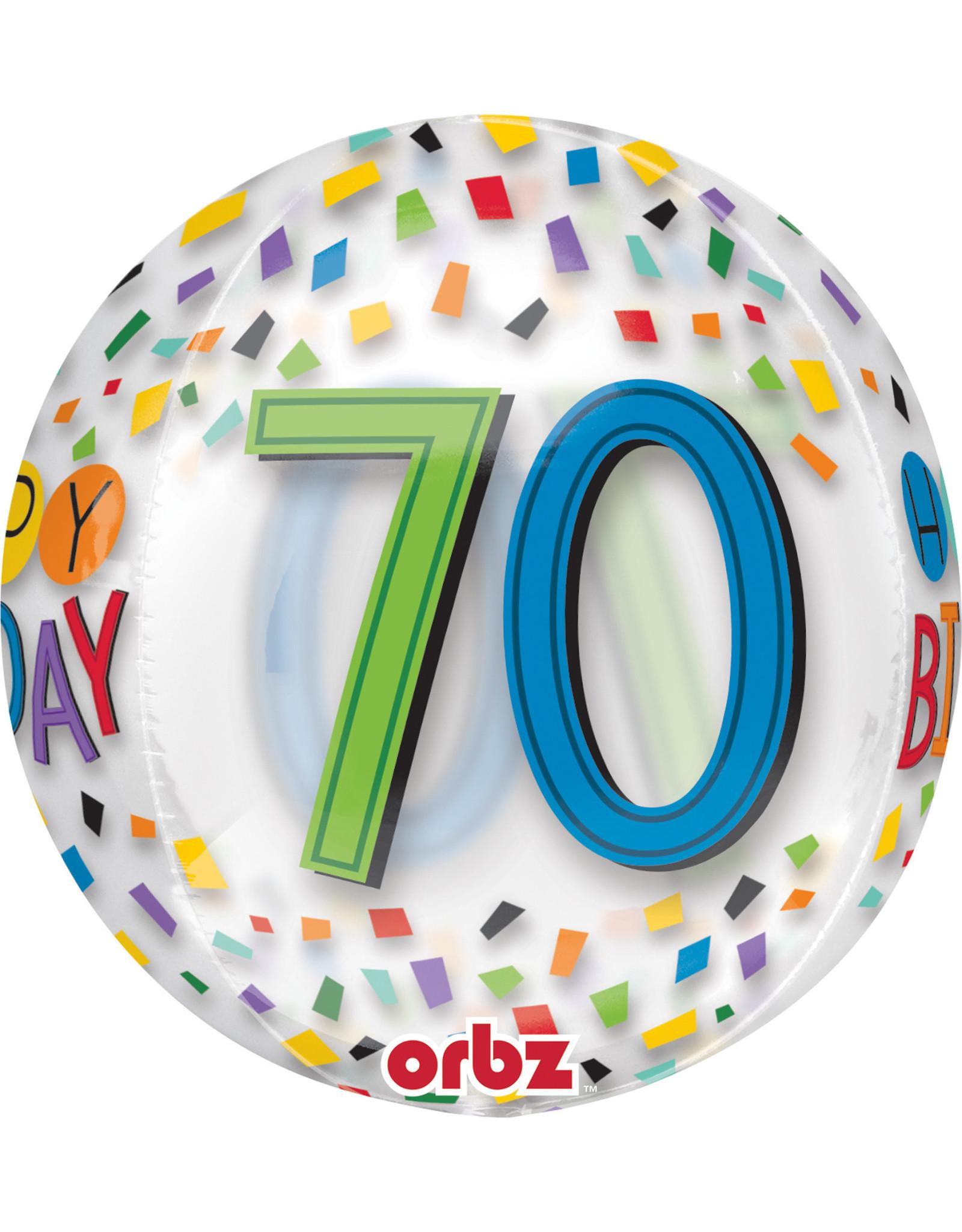 Amscan folieballon orbz confetti stijl 70 jaar 38 x 40 cm