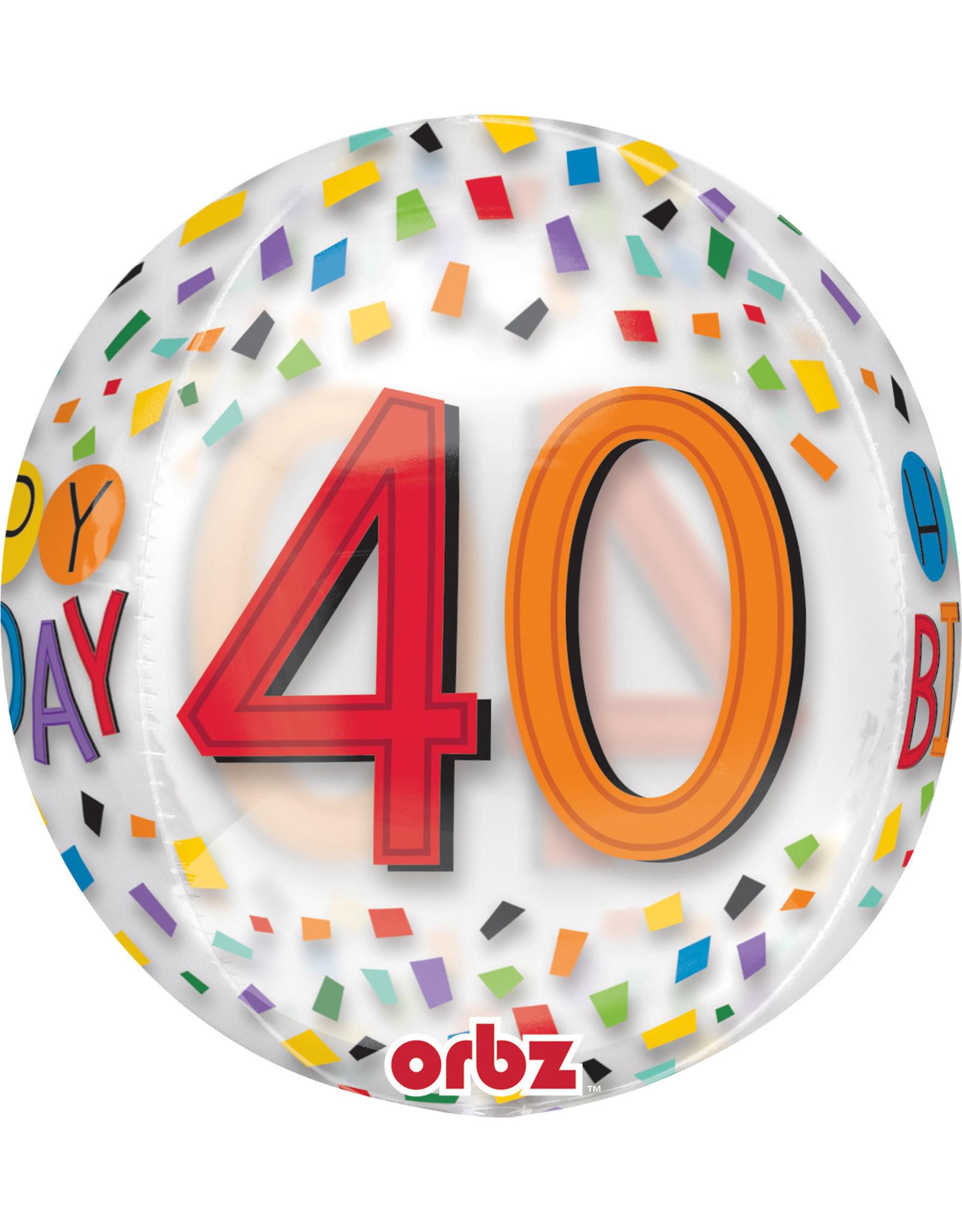 Amscan folieballon orbz confetti stijl 40 jaar 38 x 40 cm