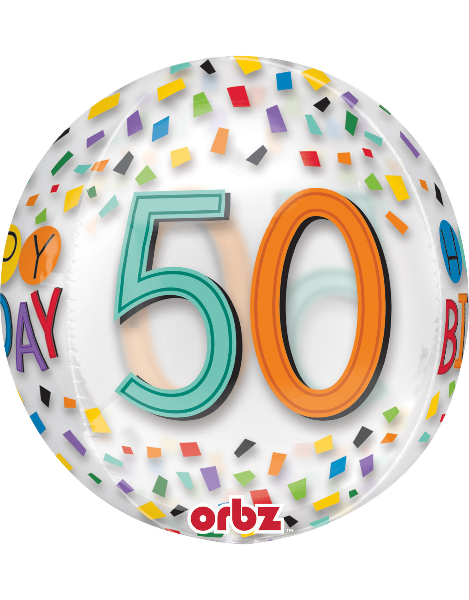 Amscan folieballon orbz confetti stijl 50 jaar 38 x 40 cm