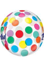 Amscan folieballon orbz gekleurde stippen happy birthday
