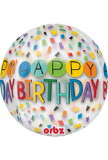Amscan folieballon orbz confetti stijl happy birthday