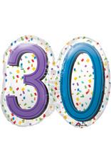 Amscan folieballon supershape confetti stijl 30 jaar
