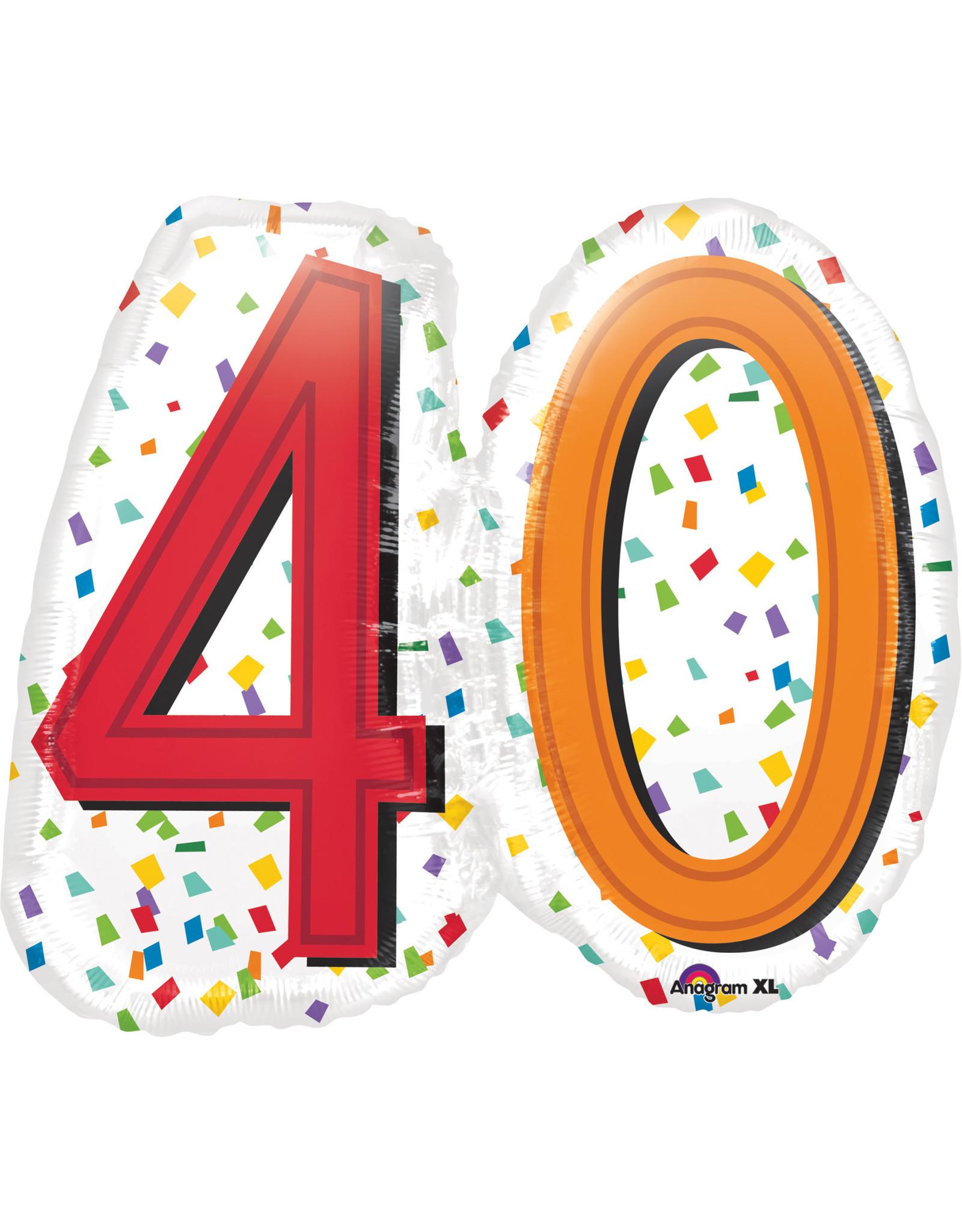 Amscan folieballon supershape confetti stijl 40 jaar