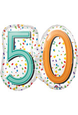 Amscan folieballon supershape confetti stijl 50 jaar