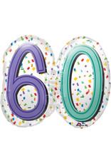 Amscan folieballon supershape confetti stijl 60 jaar