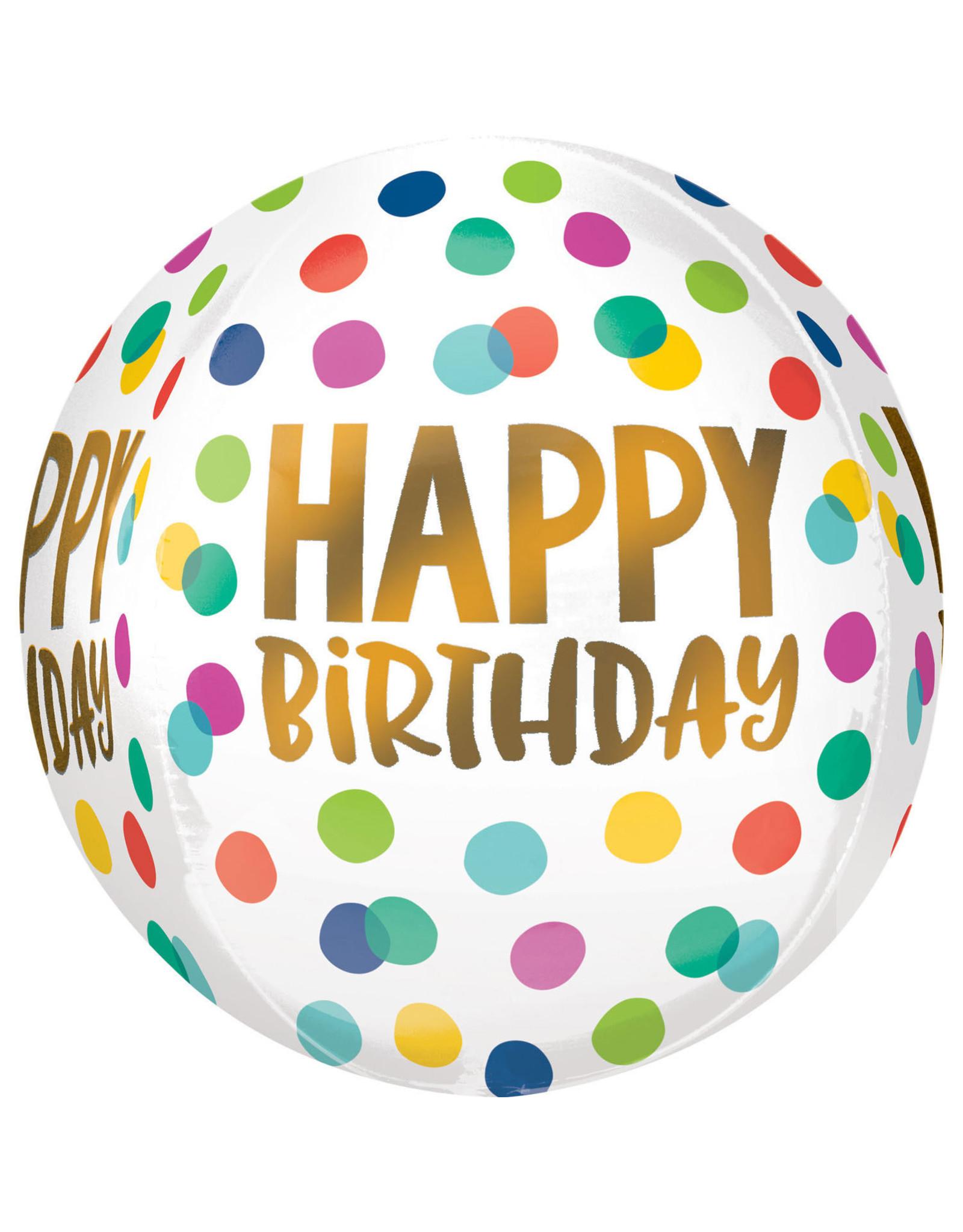 Amscan folieballon orbz regenboogstippen met happy birthday goud