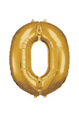 Amscan folieballon goud cijfer 0 86 cm