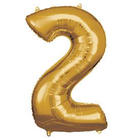 Amscan folieballon goud cijfer 2 86 cm