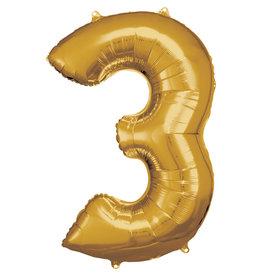 Amscan folieballon goud cijfer 3 86 cm
