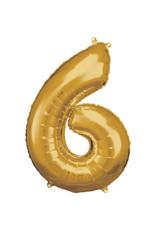 Amscan folieballon goud cijfer 6 86 cm