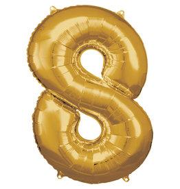 Amscan folieballon goud cijfer 8 86 cm