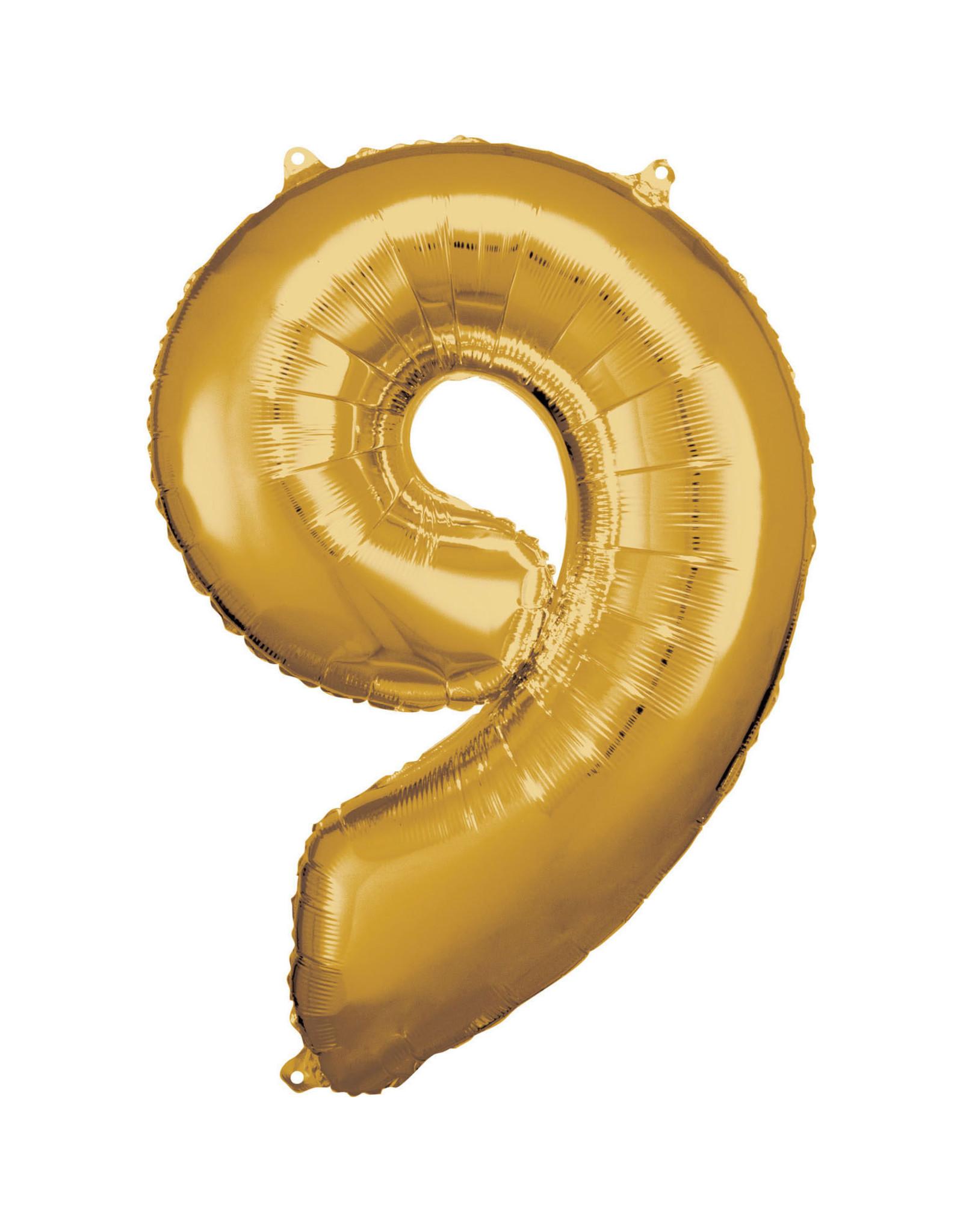 Amscan folieballon goud cijfer 9 86 cm