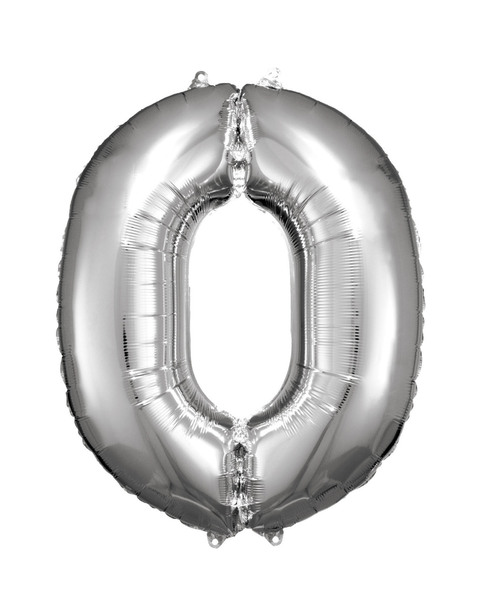 Amscan folieballon zilver cijfer 0 86 cm