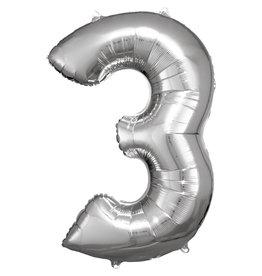 Amscan folieballon zilver cijfer 3 86 cm