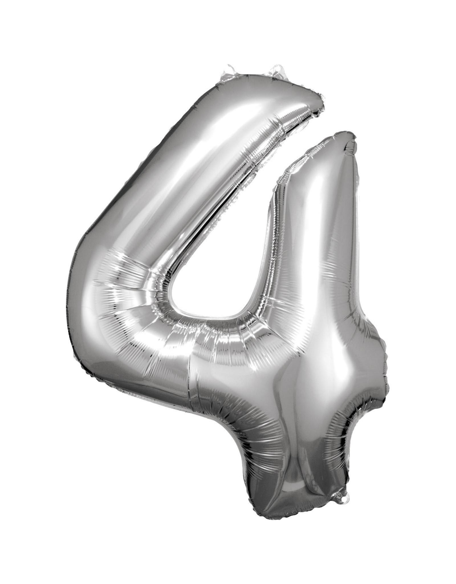 Amscan folieballon zilver cijfer 4 86 cm