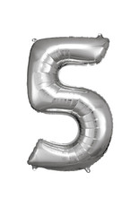 Amscan folieballon zilver cijfer 5 86 cm