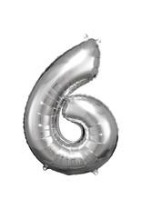 Amscan folieballon zilver cijfer 6 86 cm