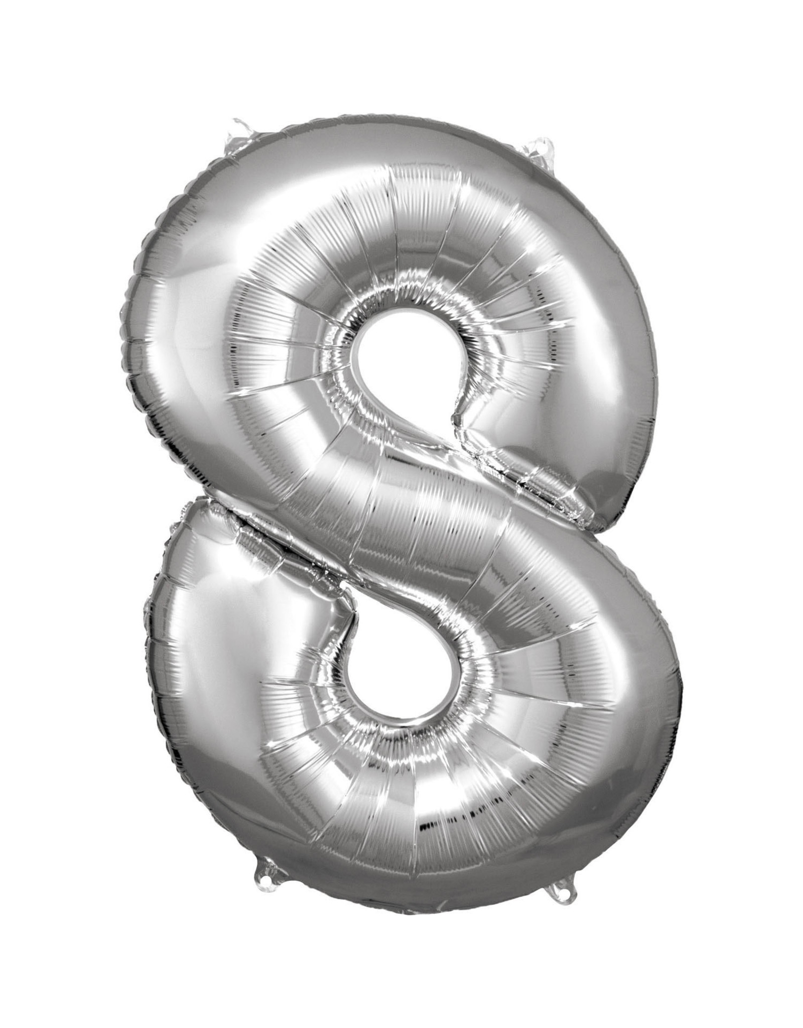 Amscan folieballon zilver cijfer 8 86 cm