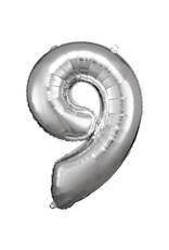Amscan folieballon zilver cijfer 9 86 cm