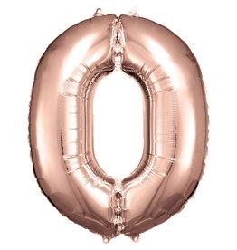 Amscan folieballon rose goud cijfer 0 86 cm